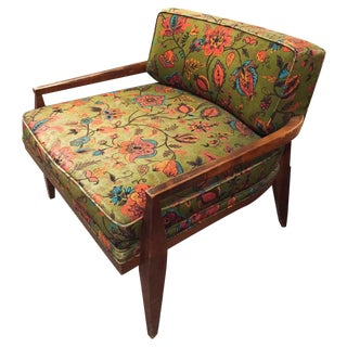 Mid-Century Floral Paisley Chair For Sale
