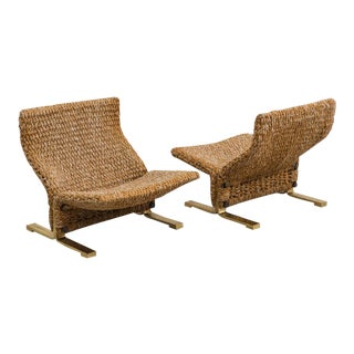Pair of 1970s Italian Marzio Cecchi Low Knitted Lounge Chairs For Sale