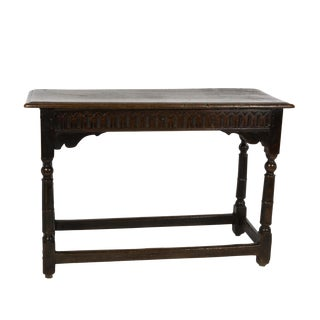 17th Century Joined Oak Side Table, Box Stretchers, Turned Oak Legs, English Circa 1680 For Sale