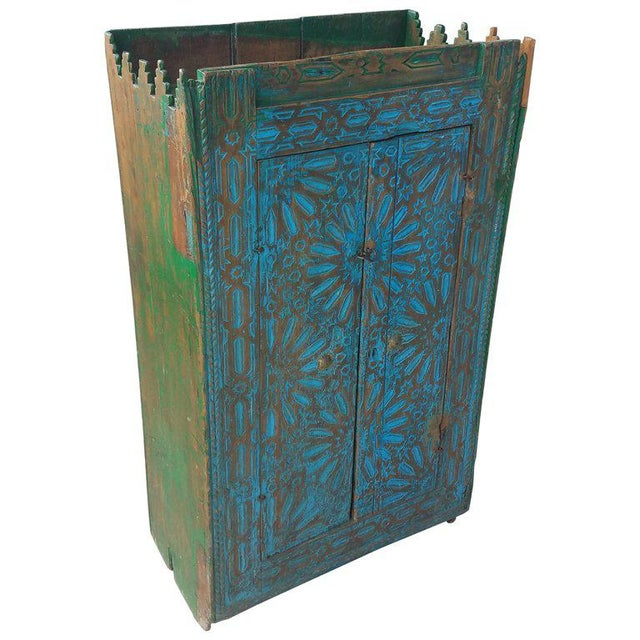 Wood Antique Moroccan Turquoise Wooden Cabinet For Sale - Image 7 of 7