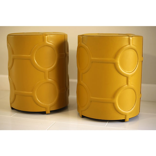 Global Views Mustard Yellow Leather Drum Table For Sale - Image 4 of 7