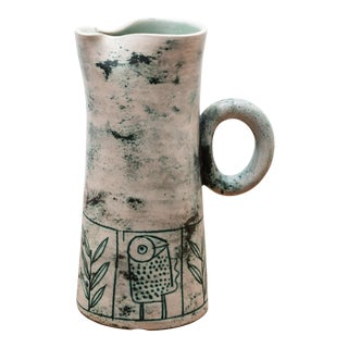 Blue Green Ceramic Pitcher by French Ceramic Artist Jacques Blin, 1950s For Sale