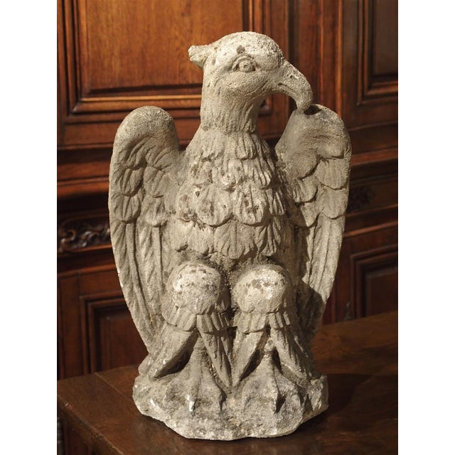 This hand carved, limestone eagle is cut from a stone called Vicenza, which is found in Northern Italy. The eagle is...