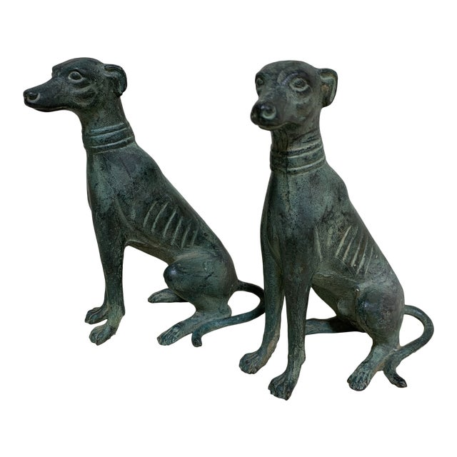 Verdigris Bronze Greyhound Bookends For Sale