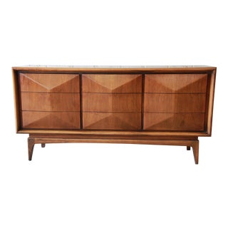 Vladimir Kagan Style Walnut Diamond Front Dresser or Credenza by United