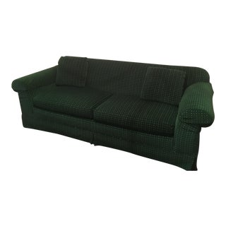 Baker Furniture Green Velvet Vintage Sofa For Sale