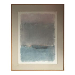 Boat Lost at Dusk Watercolor Signed Shelly Shepperd, 1979 For Sale
