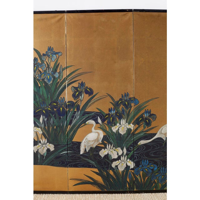 Brass Japanese Six-Panel Meiji Screen of Egrets on Gold Leaf For Sale - Image 7 of 13