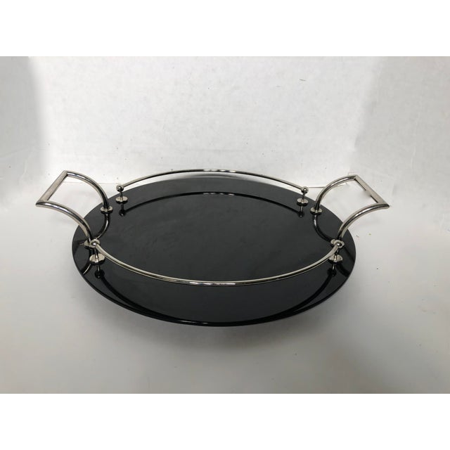 20th Century Art Deco Yeoman Black Onyx Glass and Silver Plated Serving Tray For Sale - Image 4 of 7