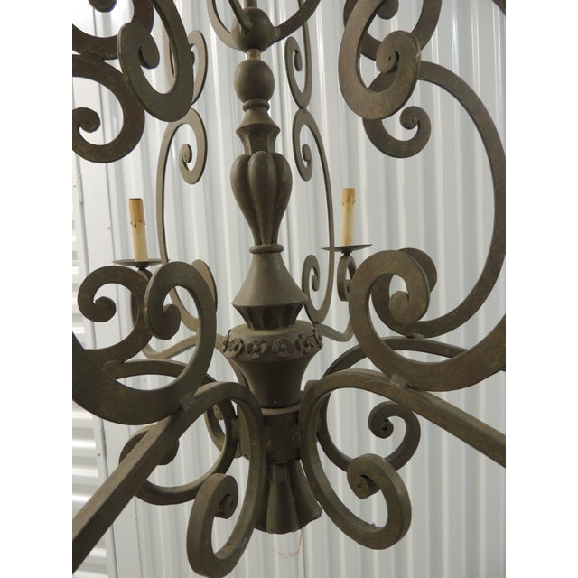 Late 20th Century Large Traditional Forged Iron Hanging Chandelier From Curry & Co For Sale - Image 5 of 12
