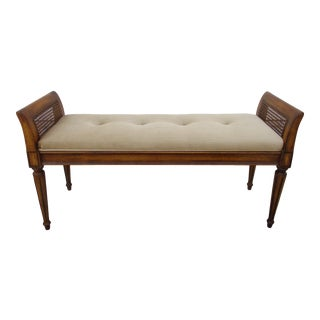 Regency Style Window Bench With Rattan Side Panels For Sale