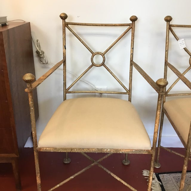 Vintage Gilt Iron Chairs - A Pair - Image 2 of 8