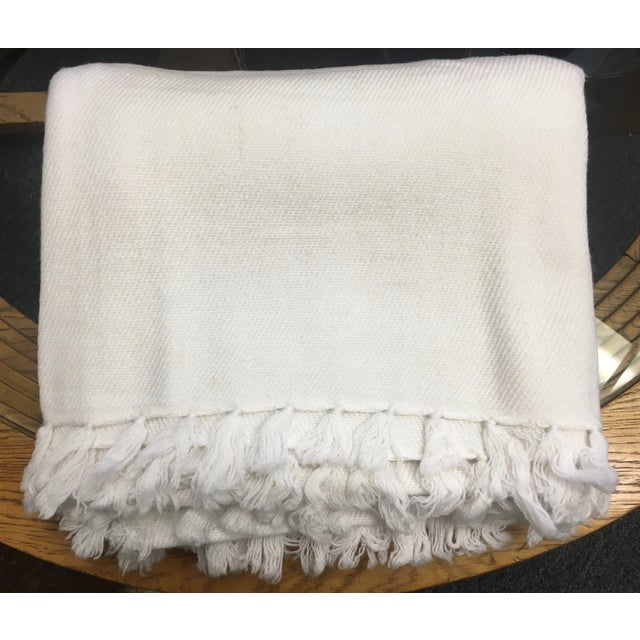 White Cashmere Blanket With Tassels - Image 8 of 11