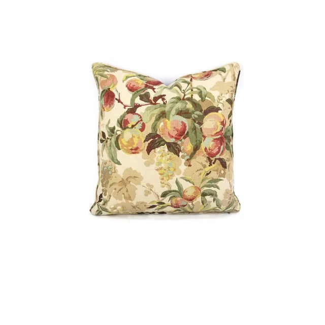 """Textile Brunschwig & Fils Peach Tree in Beige and Blue Linen Print Pillow Cover - 20"""" X 20"""" For Sale - Image 7 of 7"""