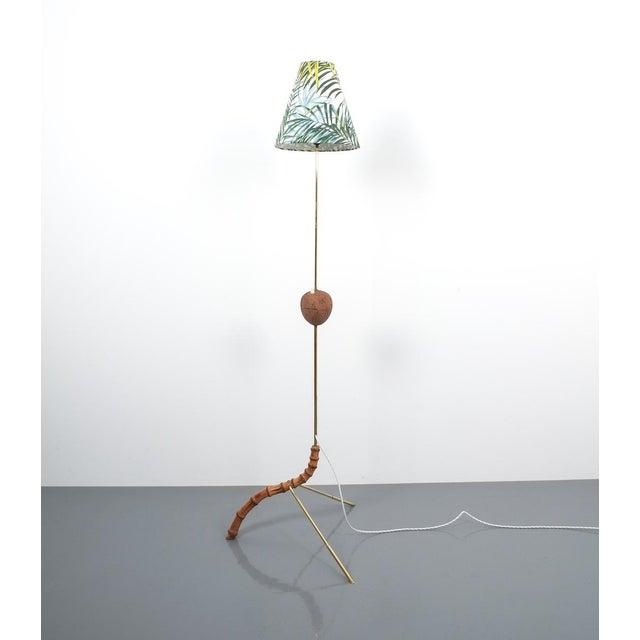 Coconut Brass Bamboo Floor Lamp Attr. Kalmar, Austria 1950 For Sale - Image 11 of 11