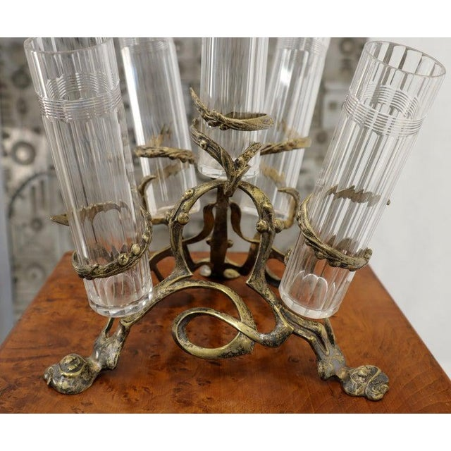 Art Nouveau 5 Branches Center Piece Cut Glass Vases For Sale - Image 10 of 13