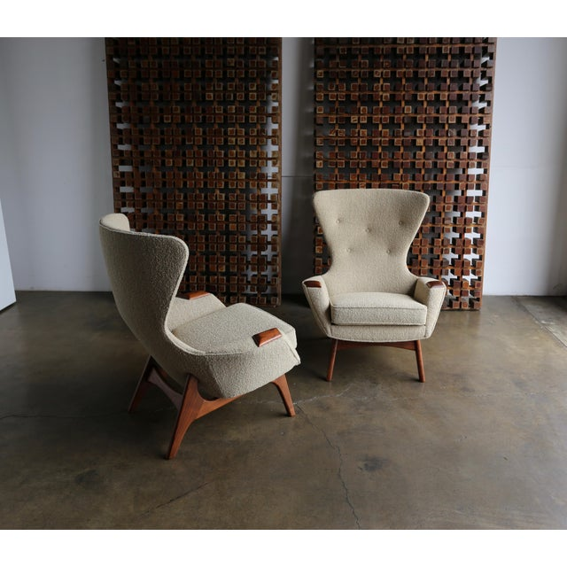 Tan Adrian Pearsall for Craft Associates Wing High Back Chairs - a Pair For Sale - Image 8 of 13