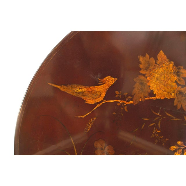 English Queen Anne Style Chinoiserie Rust Lacquer Floral Design Coffee Table For Sale - Image 4 of 8