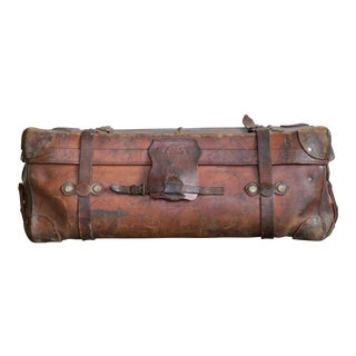 English Leather Travel or Steamer Trunk by John Pound & Co. England, Circa 1883 For Sale