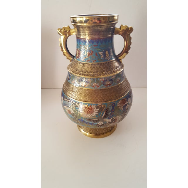 Gold Vintage Japanese Cloisonne Brass and Hand Painted Enamel Double Handle Vase For Sale - Image 8 of 8