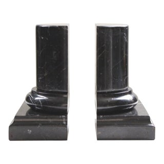 Black Marble Column-Form Bookends - a Pair