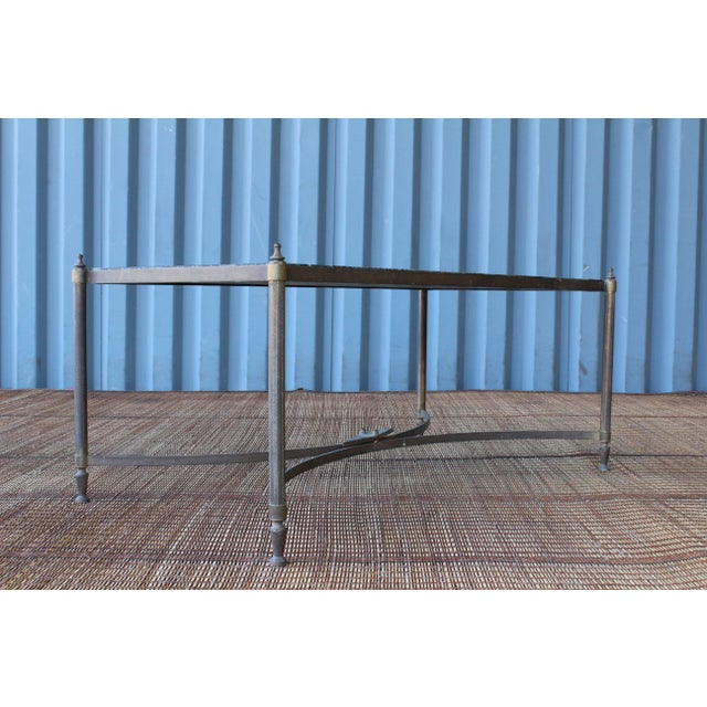 Mid-Century Modern Vintage Brass Table With Stone Top, France, 1940s For Sale - Image 3 of 11