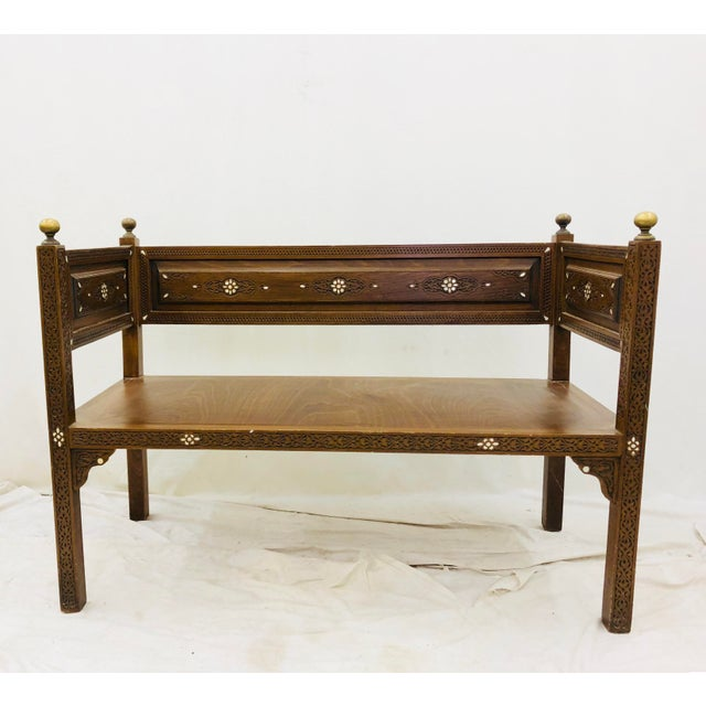 Antique Pearl & Brass Detail Wooden Bench For Sale - Image 4 of 12