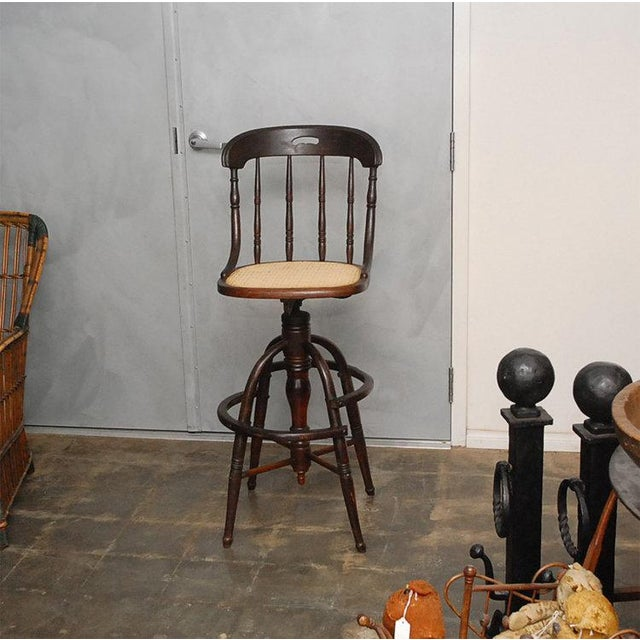 "An interesting high stool that revolves up from 30"". Thought to be American and form the circa 1890-1900 period. United..."
