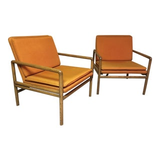 Ward Bennett for Brickel Associates Set of Oak Arm Chairs - a Pair For Sale