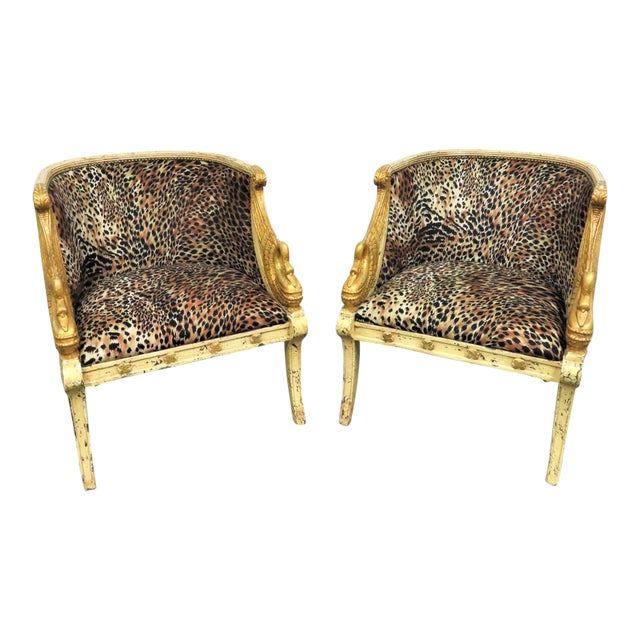 French Style Swan Carved Cream & Gilt Bergeres- a Pair For Sale