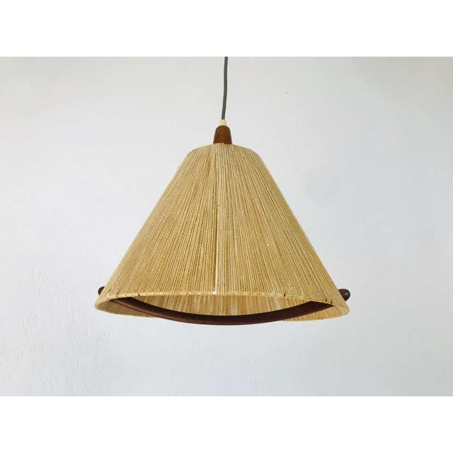 Midcentury Teak and Rattan Hanging Lamp, circa 1970 For Sale - Image 6 of 12
