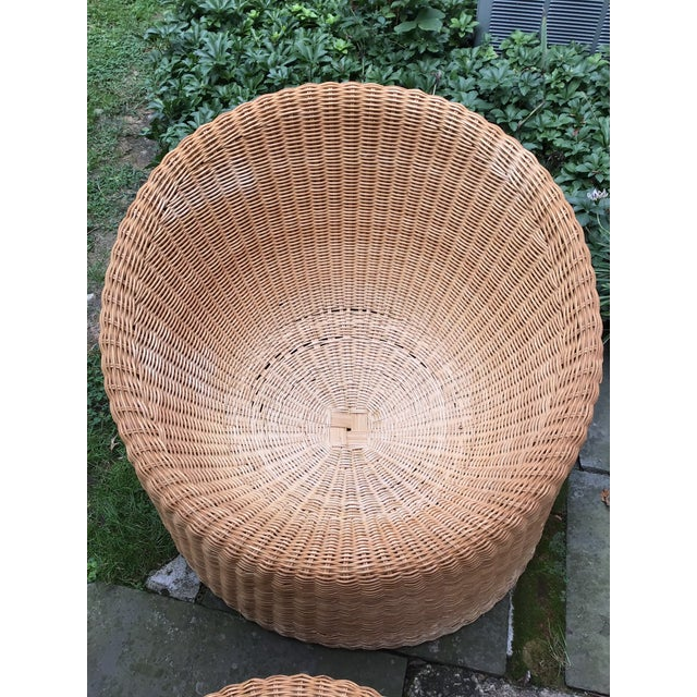 Wicker Mid Century Eero Aarnio Wicker Elephant Boot Chairs and Foot Stool - Set of 3 For Sale - Image 7 of 13