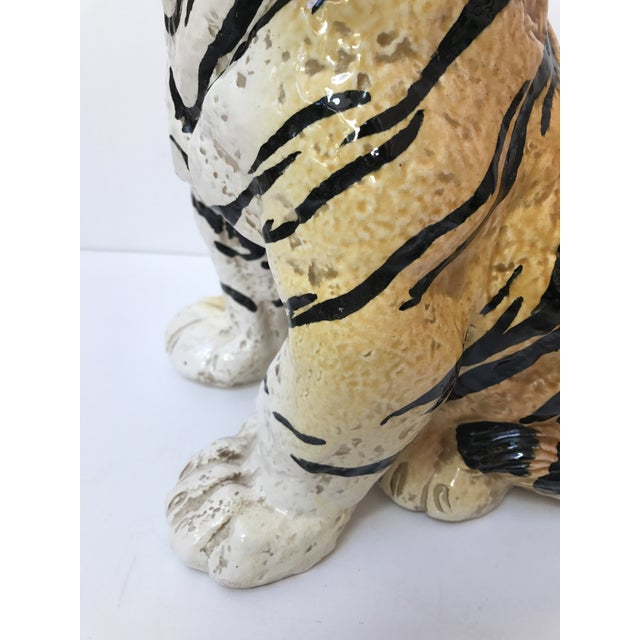 Hand Painted Italian Ceramic Tiger - Image 4 of 9