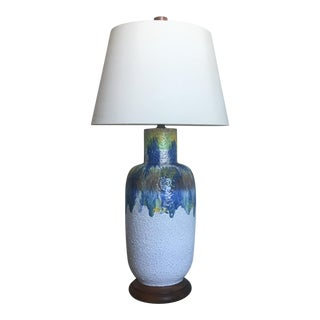 Oversize Midcentury Drip Glaze Lamp For Sale