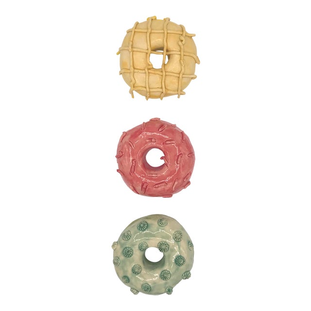 Pop Art Ceramic Wall Donuts - Set of 3 For Sale
