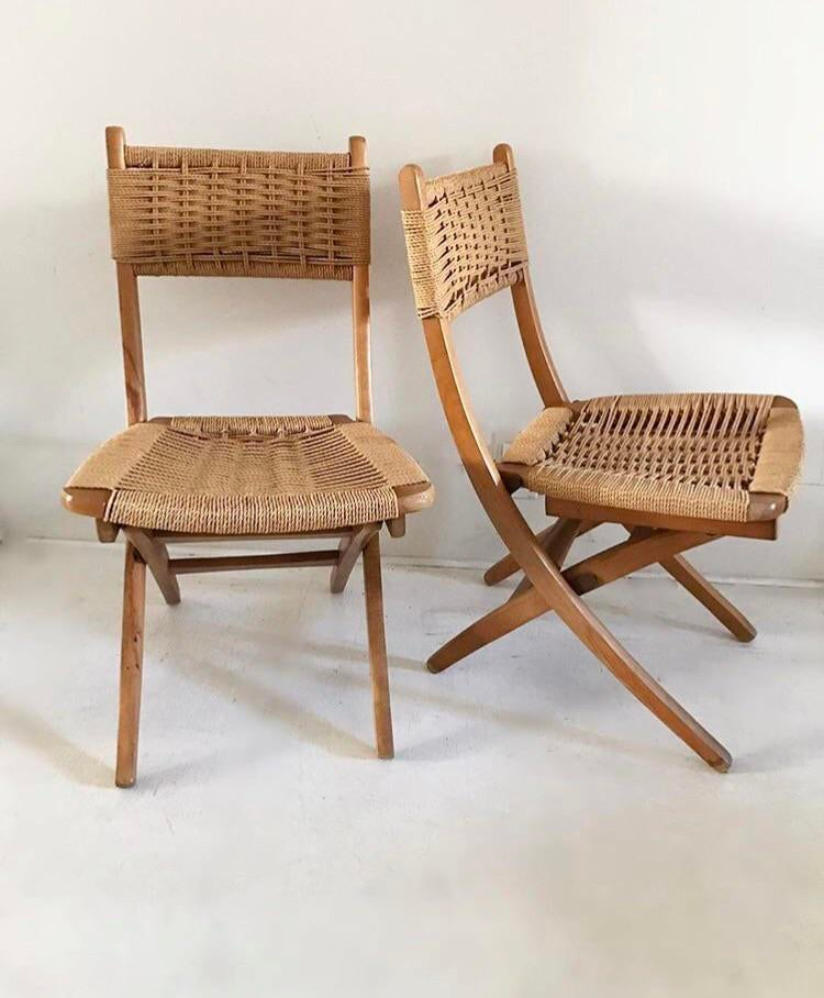 Mid Century Yugoslavia Folding Rope Chairs   A Pair   Image 2 Of 7