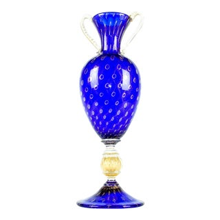 Late 20th Century Murano Glass Gold Fleck Deco Vase For Sale