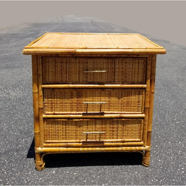 Vintage Mid Century Modern Bamboo Rattan Nightstand For Sale - Image 10 of 10