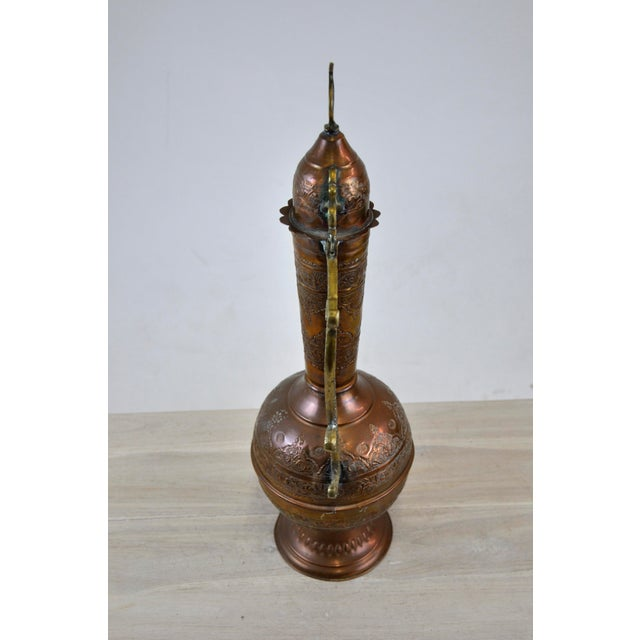 Antique 19th C. Middle Eastern Tinned Copper Ewer For Sale - Image 4 of 11
