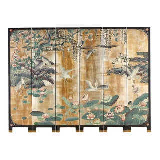 Chinese Export Gilt Coromandel Screen Crane Landscape For Sale