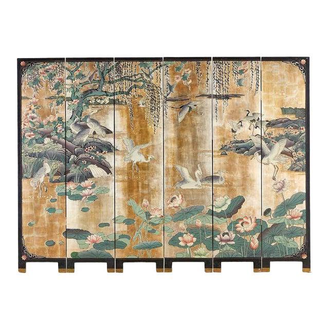 Chinese Export Gilt Coromandel Screen Crane Landscape For Sale