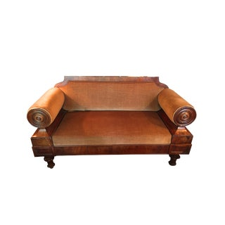Baltic Mahogany Settee Covered in Velvet For Sale