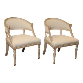 Pair of 19th Century Gustavian Barrel Back Chairs For Sale