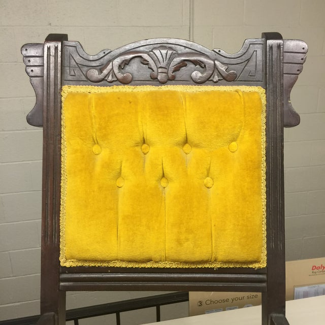 Antique Tufted Yellow Wooden Chair - Image 5 of 9