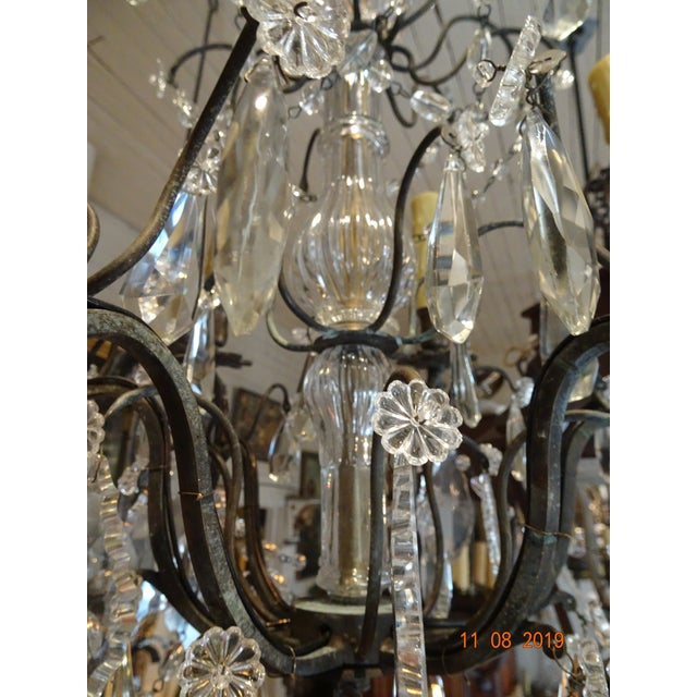 1900 - 1909 Small Vintage French Crystal Chandelier For Sale - Image 5 of 13