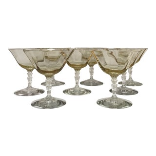 Fostoria 30's Waterfall Stem Topaz Glasses - Set of 8 For Sale