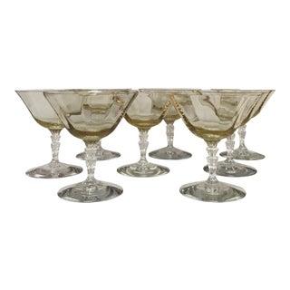 Fostoria 30's Waterfall Stem Topaz Glasses - Set of 8