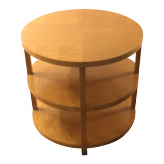 1960s Baker Tiger Maplewood Mid-Century Modern Round 3 Tier Table For Sale