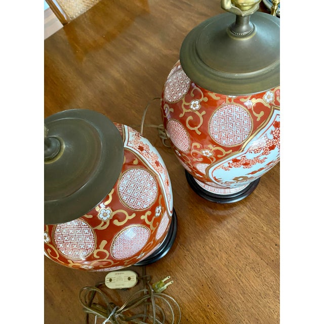 Red Vintage Gold Imari Red and Gold Lamps - a Pair For Sale - Image 8 of 13