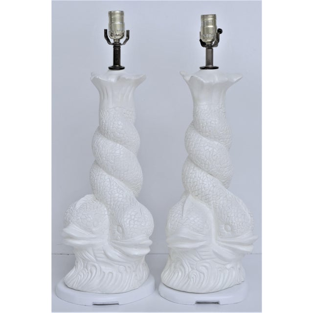 Asian Hollywood Regency Brighton Dolphin Plaster Lamps For Sale - Image 3 of 10